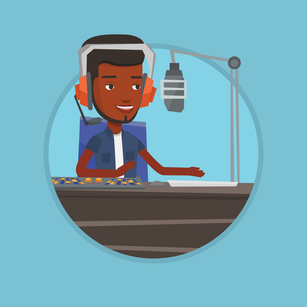 Radio dj working on mixing console and speaking into a microphone on radio. News presenter in headset working on a radio station. Vector flat design illustration in the circle isolated on background.