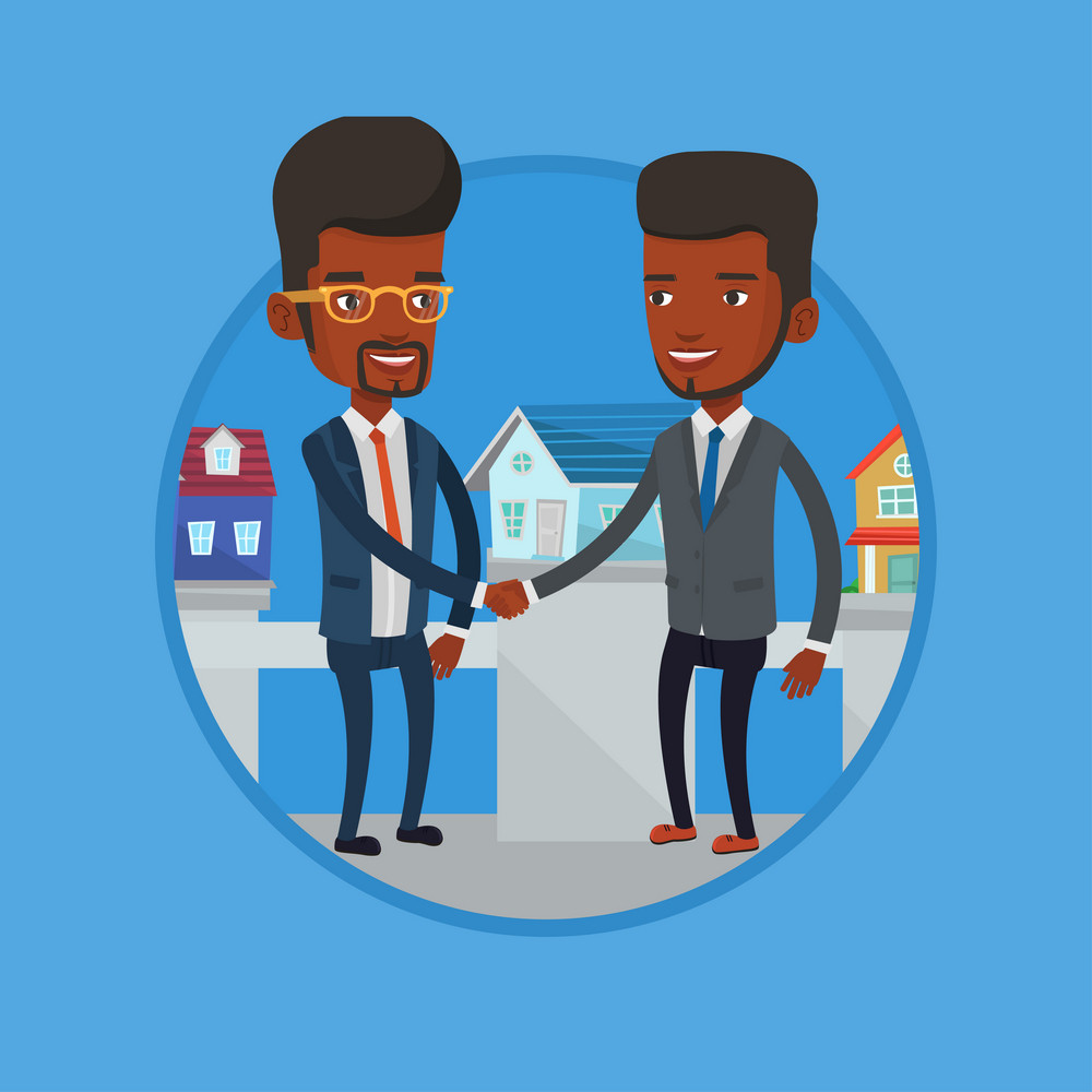 Real estate agent shaking hand to buyer after real estate deal. Conclusion of real estate deal between real estate agent and buyer. Vector flat design illustration in the circle isolated on background
