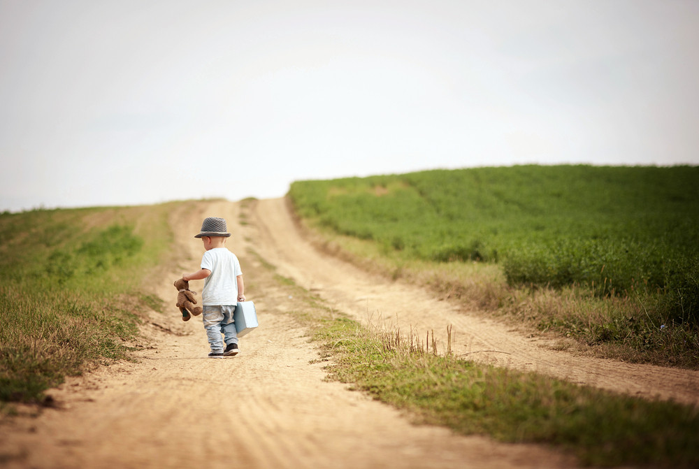 Rear view of little boy walking on the footpath in field with suitacase and teddy bear