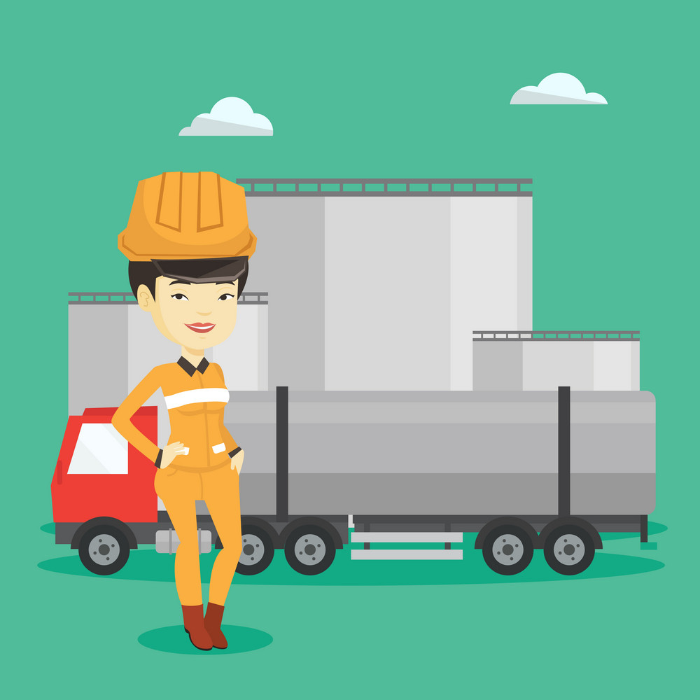 Refinery worker of oil and gas industry. Young worker standing on the background of fuel truck and oil refinery plant. Woman working at refinery plant. Vector flat design illustration. Square layout.
