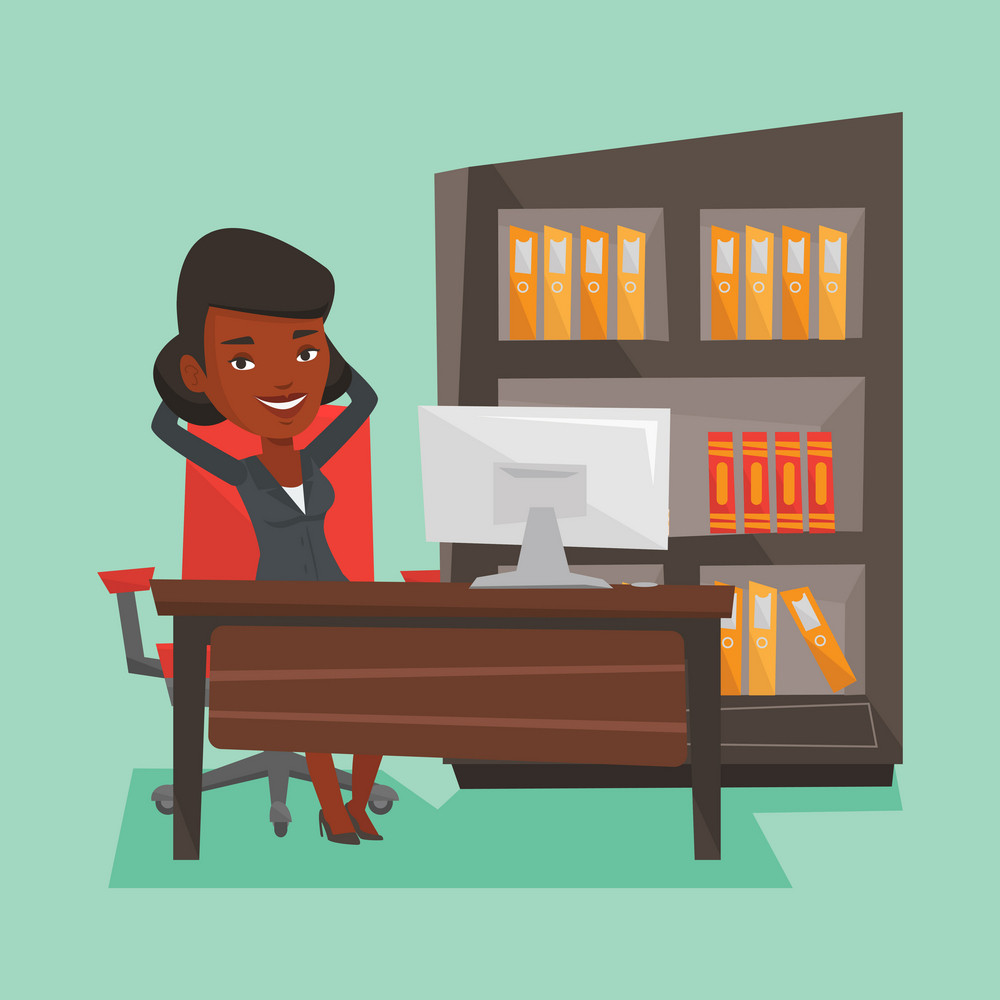 Relaxed african-american business woman sitting at workplace in office. Young business woman relaxing in the office with her hands clasped behind head. Vector flat design illustration. Square layout.