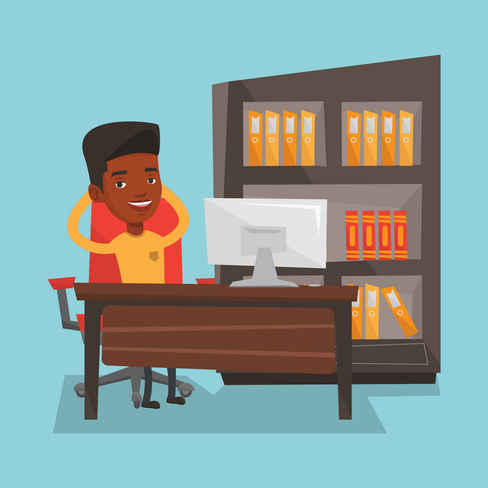 Relaxed african-american businessman sitting at workplace in office. Young businessman relaxing in the office with his hands clasped behind head. Vector flat design illustration. Square layout.