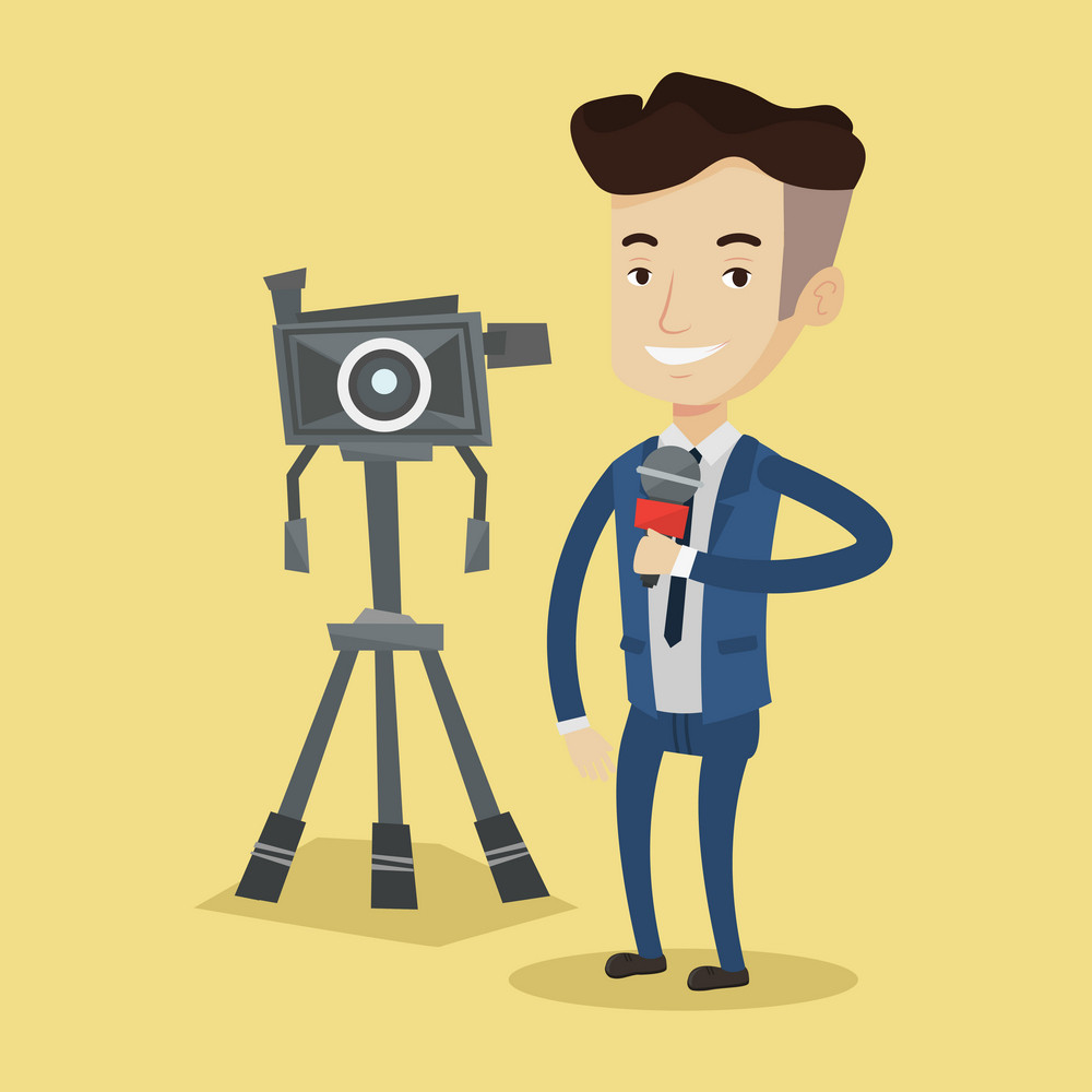 Reporter with microphone standing on a background with camera. Young smiling TV reporter in suit presenting the news. TV transmission with a reporter. Vector flat design illustration. Square layout.