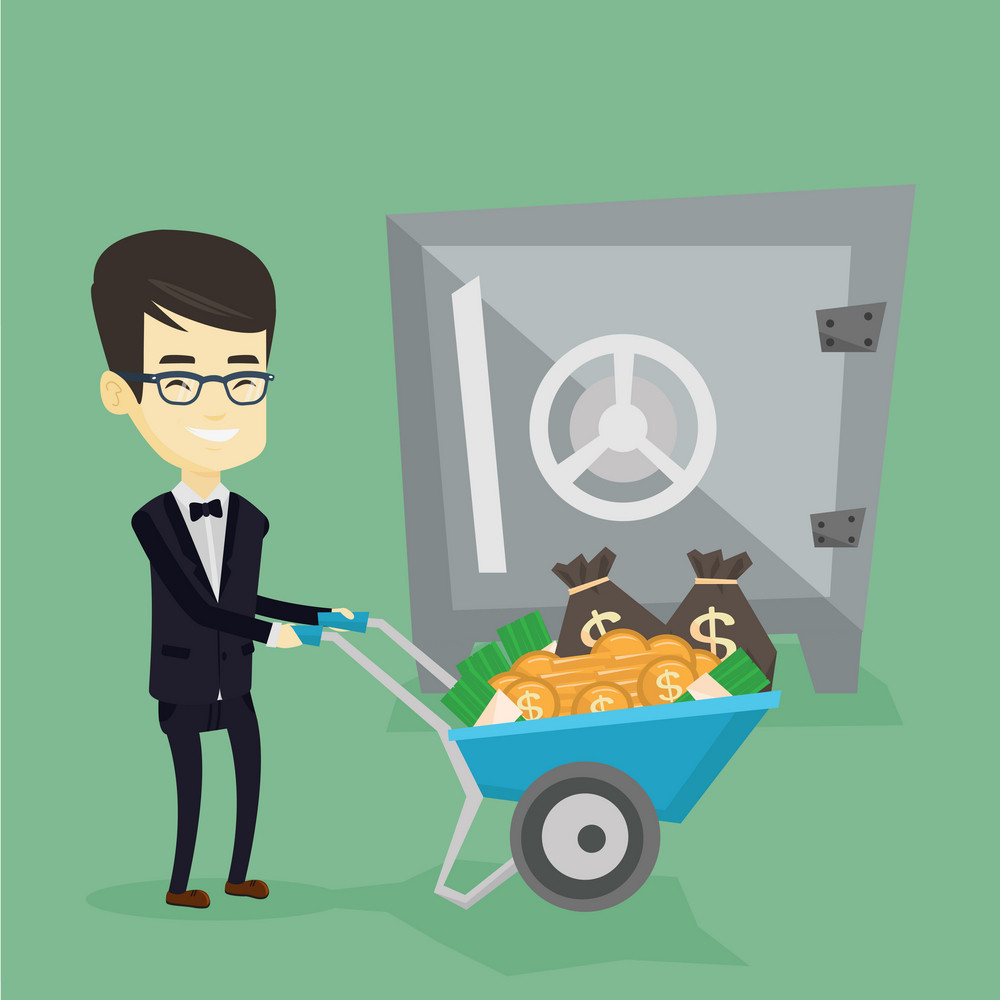 Rich business man depositing his money in bank in the safe. Asian business man pushing wheelbarrow full of money on the background of big bank safe. Vector flat design illustration. Square layout.