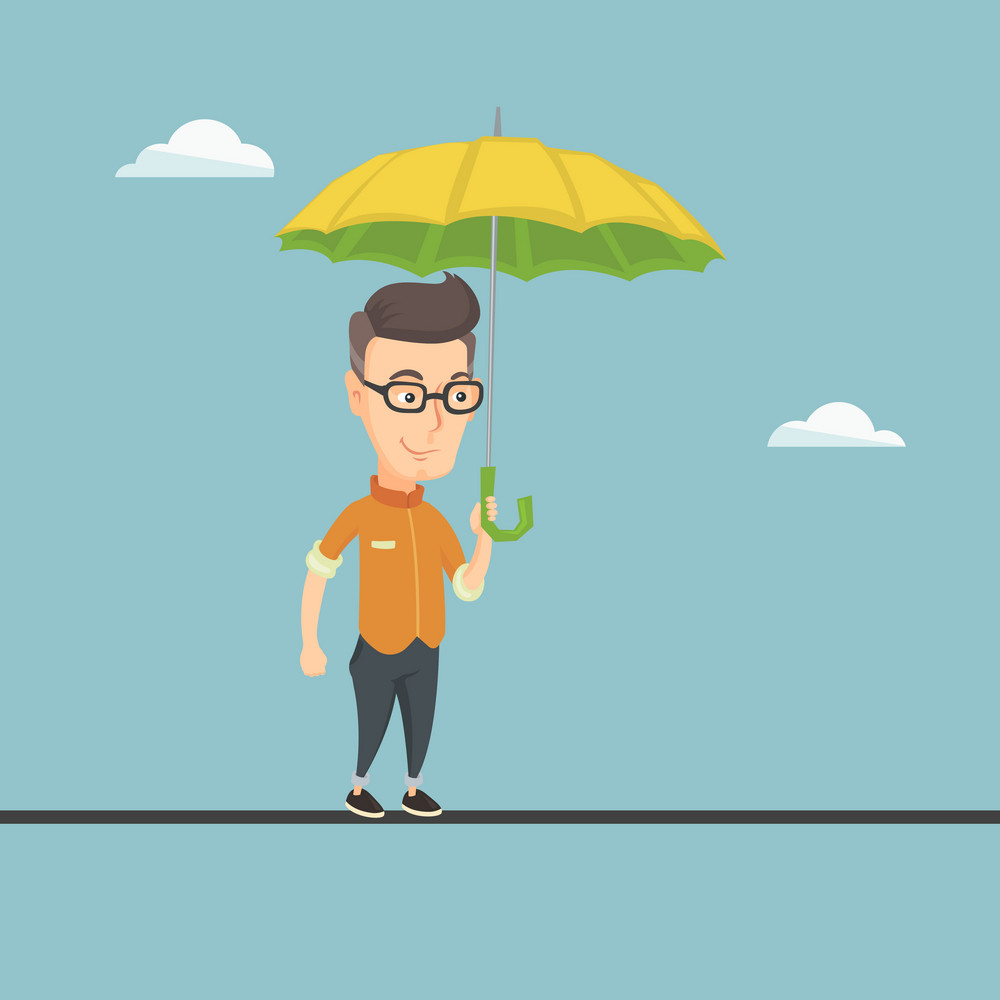 Risky business man walking across a tightrope with umbrella in hand. Business man balancing on a tightrope. Concept of risks and challenges in business. Vector flat design illustration. Square layout.