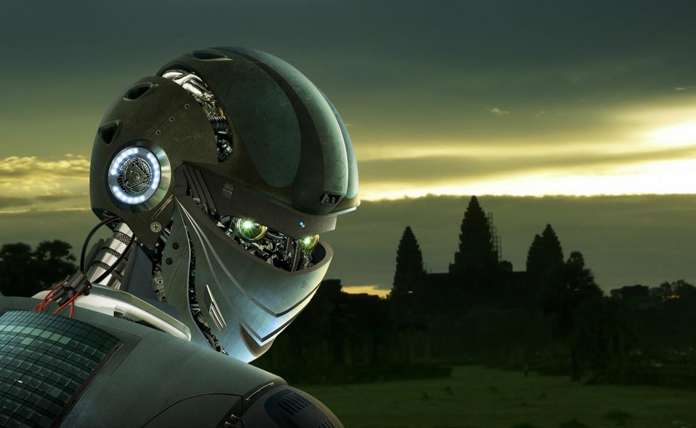 Robot Stylish , Angkor Wat background