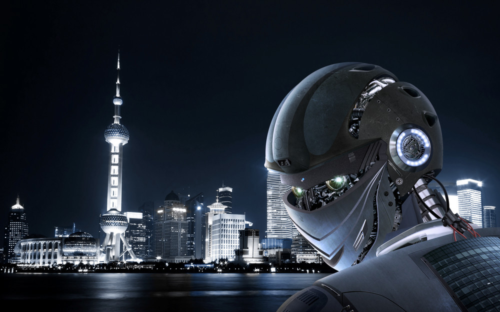 Robot Stylish , Shanghai city Background