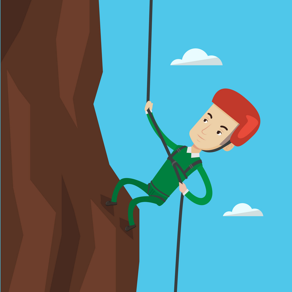 Rock climber in protective helmet climbing on a rock. Caucasian climber in action. Smiling man climbing in mountains with rope. Man climbing a rock. Vector flat design illustration. Square layout.