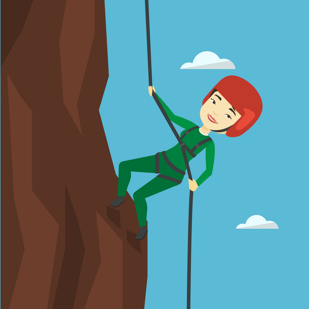 Rock climber in protective helmet climbing on rock. Asian climber in action. Smiling woman climbing in mountains with rope. Sportswoman climbing a rock. Vector flat design illustration. Square layout.