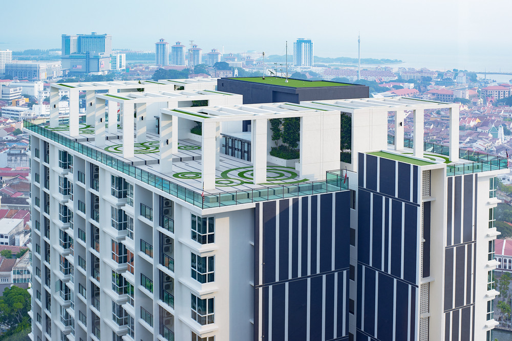 rooftop of an new skyscraper