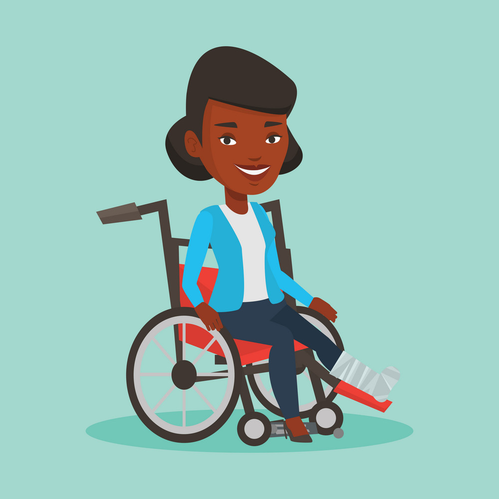 Sad african-american woman with leg in plaster. Injured upset woman sitting in wheelchair with broken leg. Woman with fractured leg suffering from pain. Vector flat design illustration. Square layout.
