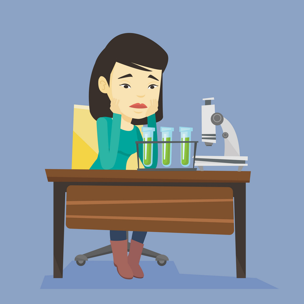 Sad asian student clutching head after failed experiment in chemistry class. Disappointed asian student carrying out experiment in chemistry class. Vector flat design illustration. Square layout.