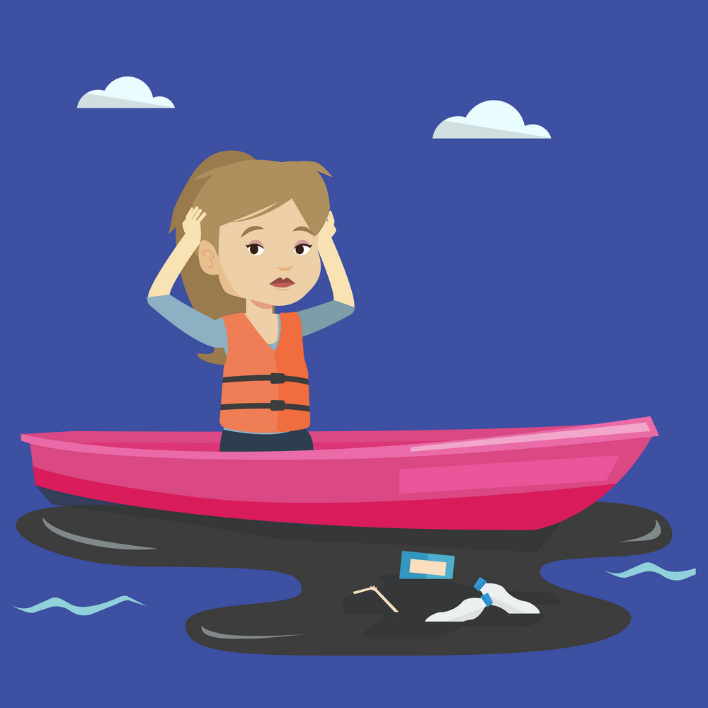 Sanitation worker working on boat to catch garbage out of water. Frustrated woman clutching head while looking at polluted water. Water pollution concept. Vector flat design illustration.Square layout