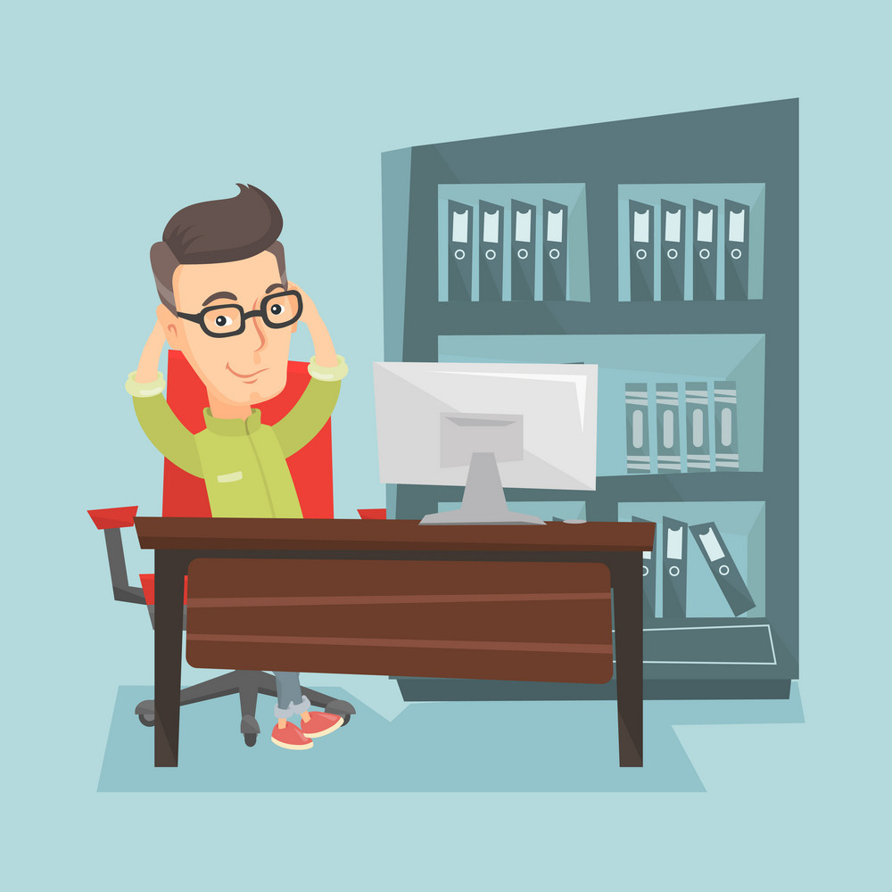 Satisfied business man sitting at workplace in the office. Young successful business man relaxing in the office with his hands clasped behind head. Vector flat design illustration. Square layout.