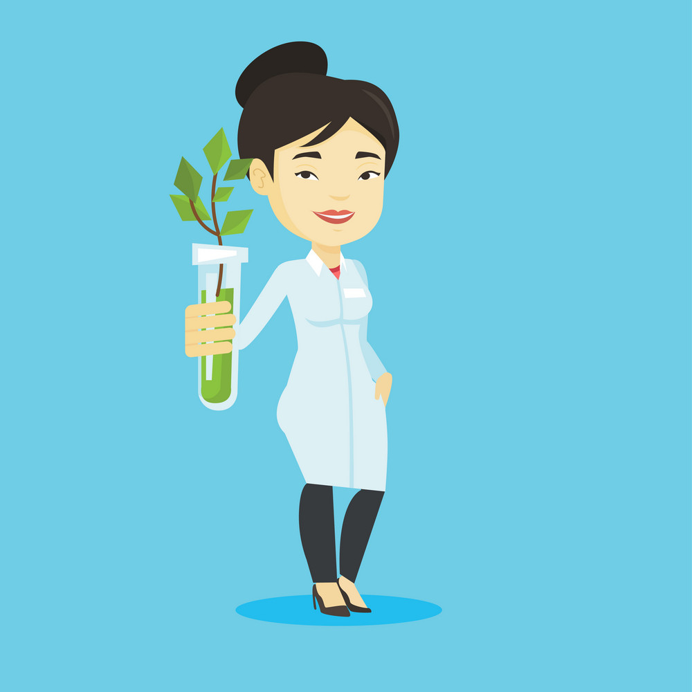 Scientist holding test tube with sprout. Scientist analyzing sprout in test tube. Laboratory assistant in medical gown holding test tube with sprout. Vector flat design illustration. Square layout.