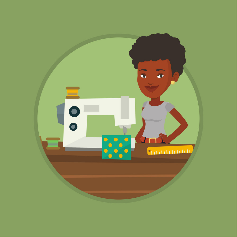 Seamstress working in a cloth factory. Seamstress sewing on industrial sewing machine. Seamstress using sewing machine at workshop. Vector flat design illustration in the circle isolated on background