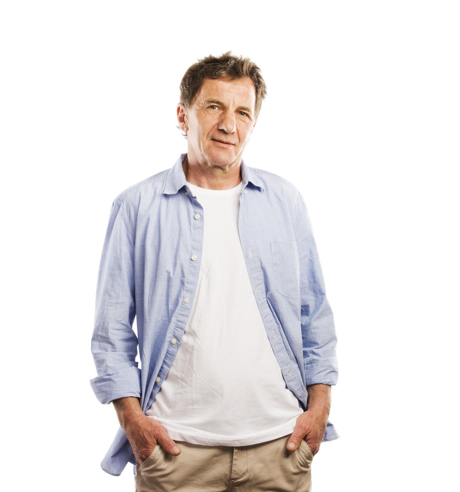 Senior casual man style portrait, studio shot, isolated on white background