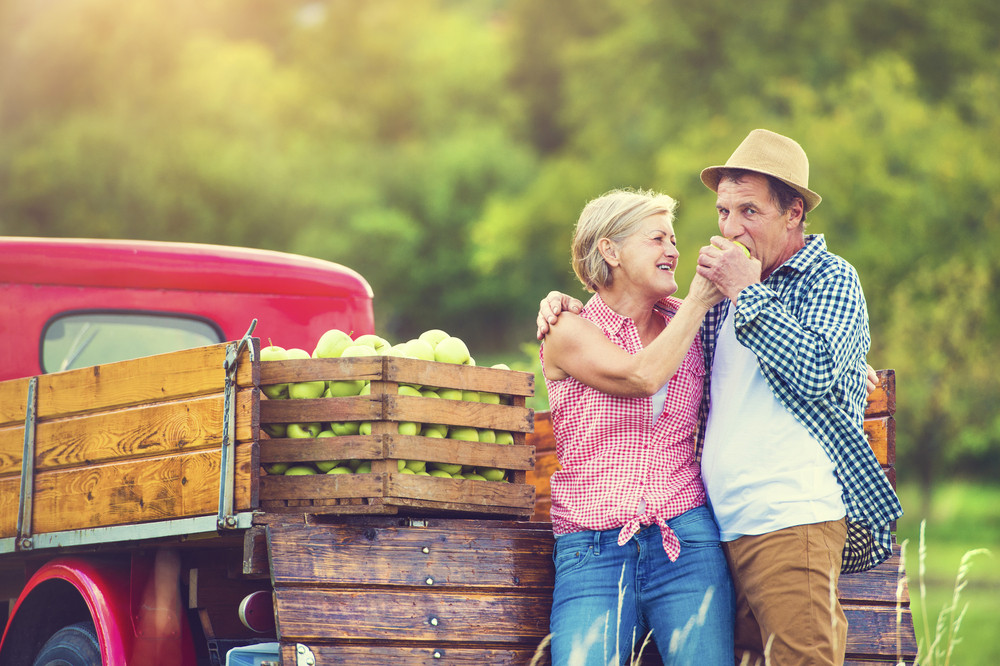 Senior couple standing in front of a truck after harvesting apples