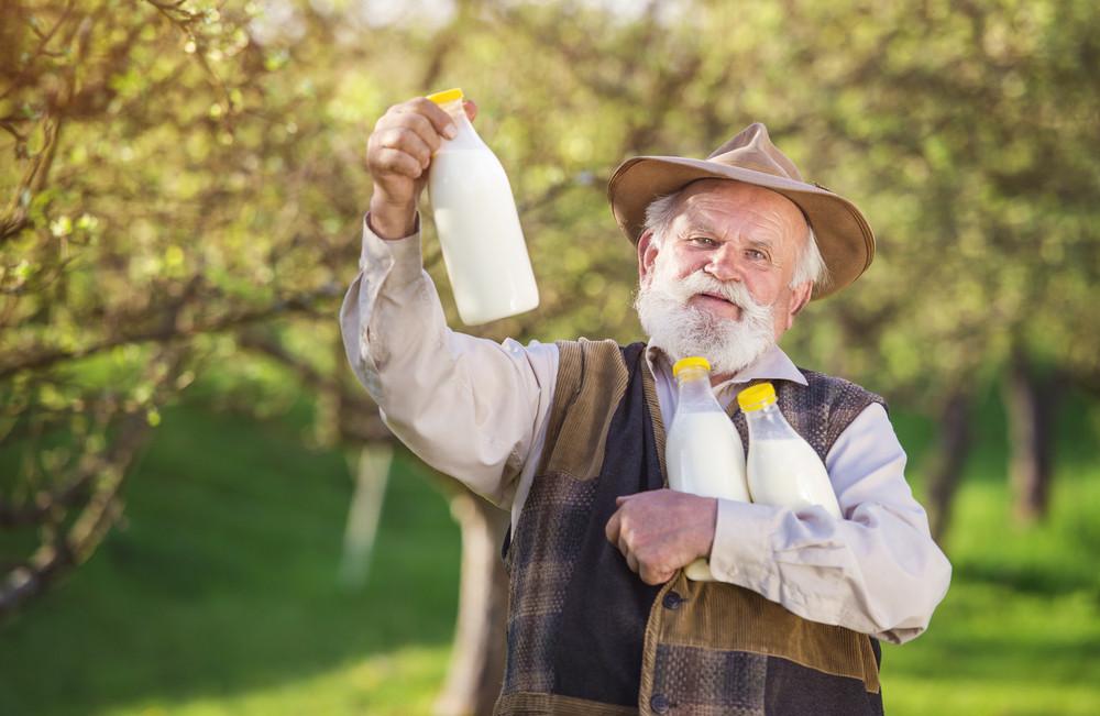 Senior farmer with milk bottles outside in green nature