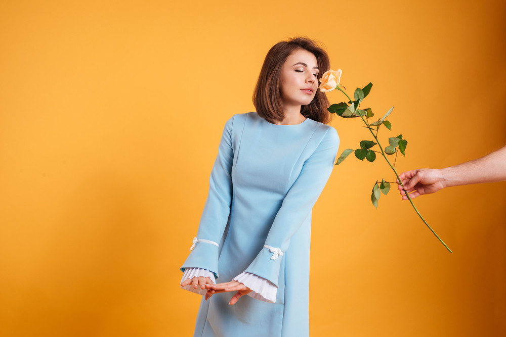 Sensual pretty young woman receiving and smelling pink rose over yellow background