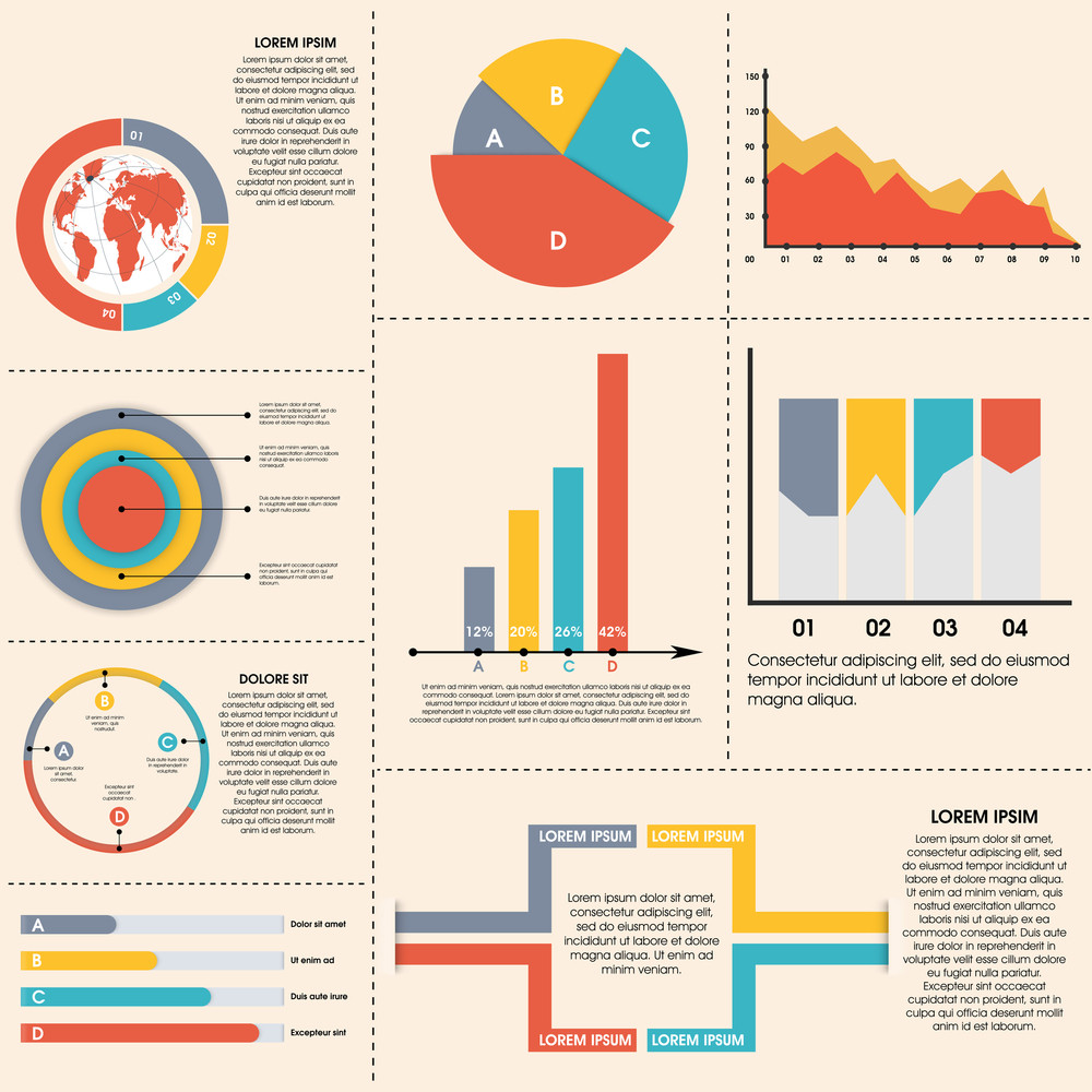 set of colorful infographic elements including statistical bars pie