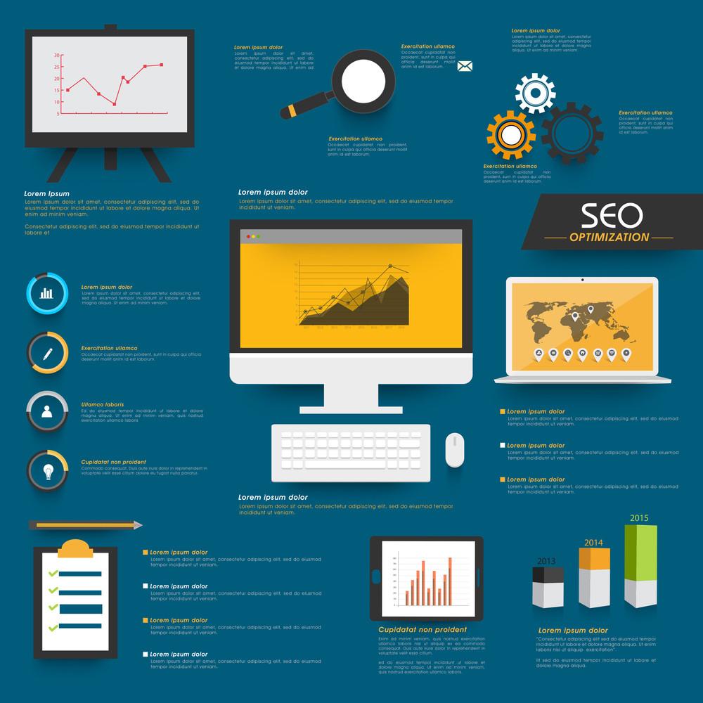 Conjunto de Search Engine Optimization Infográfico com dispositivos digitais e gráficos no fundo azul.