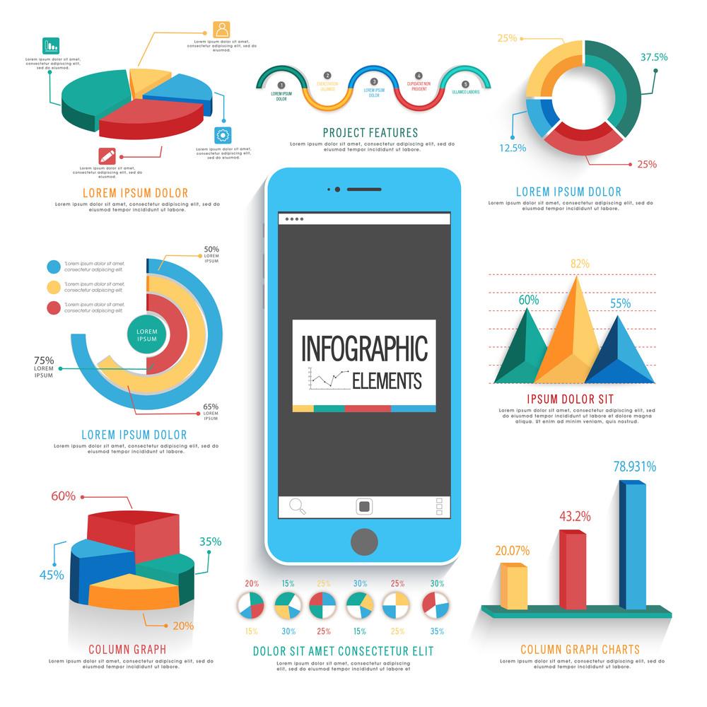 Jogo dos elementos infográfico estatísticos, incluindo gráficos de pizza 3D coloridos e gráficos para relatórios de negócios e apresentação de crescimento financeiro.