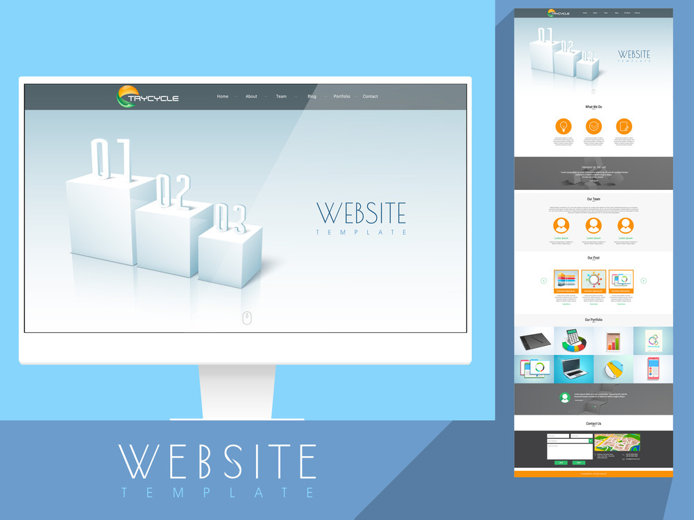 Shiny creative website template layout with various different elements for business purpose.