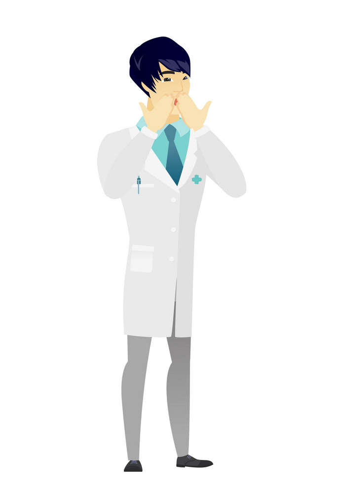Shoked asian doctor in medical gown covering his mouth with hand. Full length of shoked doctor. Doctor with a shocked facial expression. Vector flat design illustration isolated on white background.