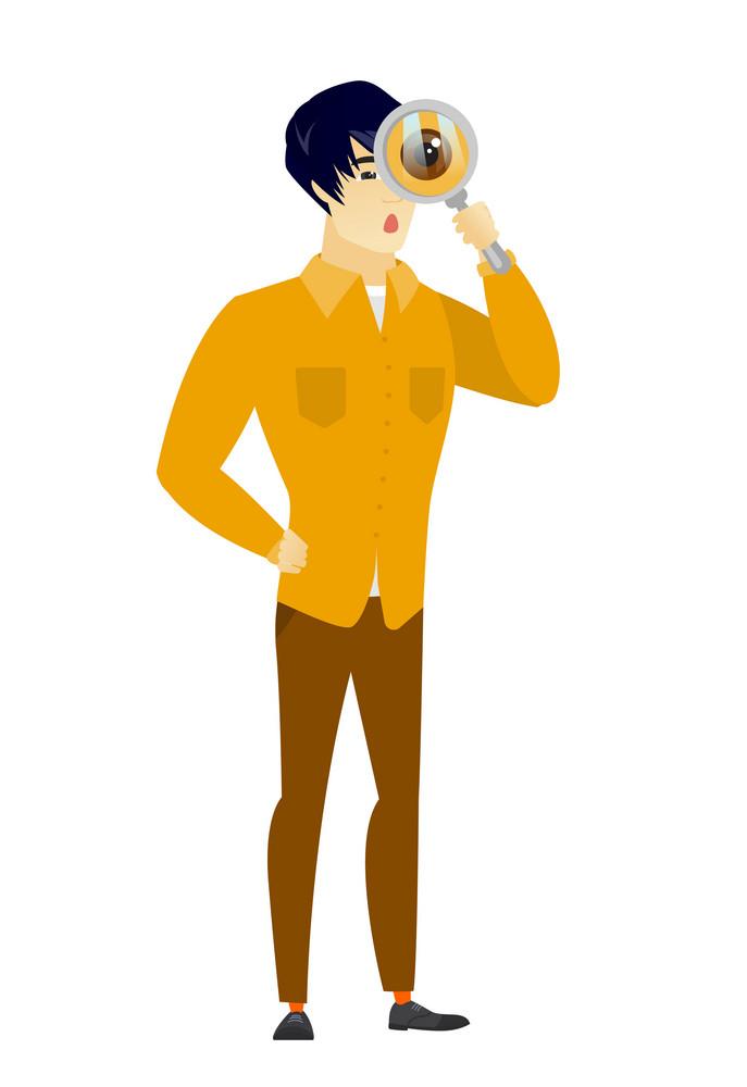 Shoked businessman with magnifying glass. Full length of businessman with magnifying glass. Businessman looking through a magnifying glass. Vector flat design illustration isolated on white background