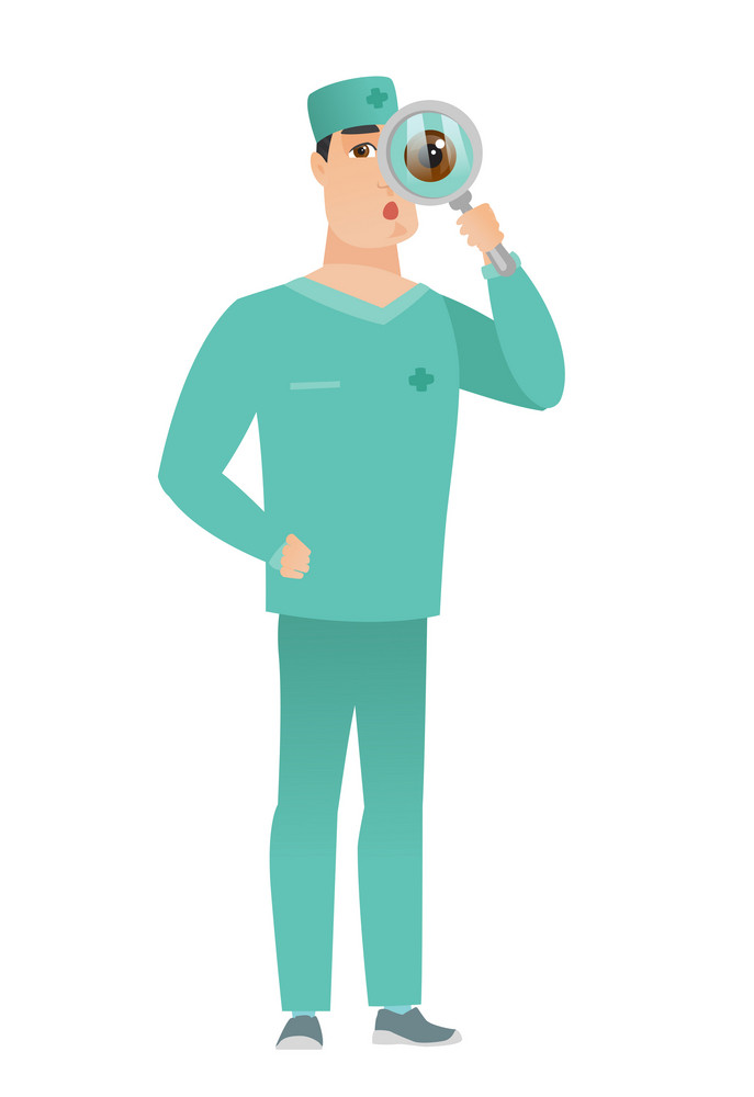 Shoked doctor with magnifying glass. Full length of doctor with magnifying glass. Doctor in uniform looking through a magnifying glass Vector flat design illustration isolated on white background