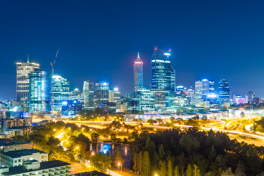 Skyline of Perth from Kings Park with a view of John Oldany Park at night.