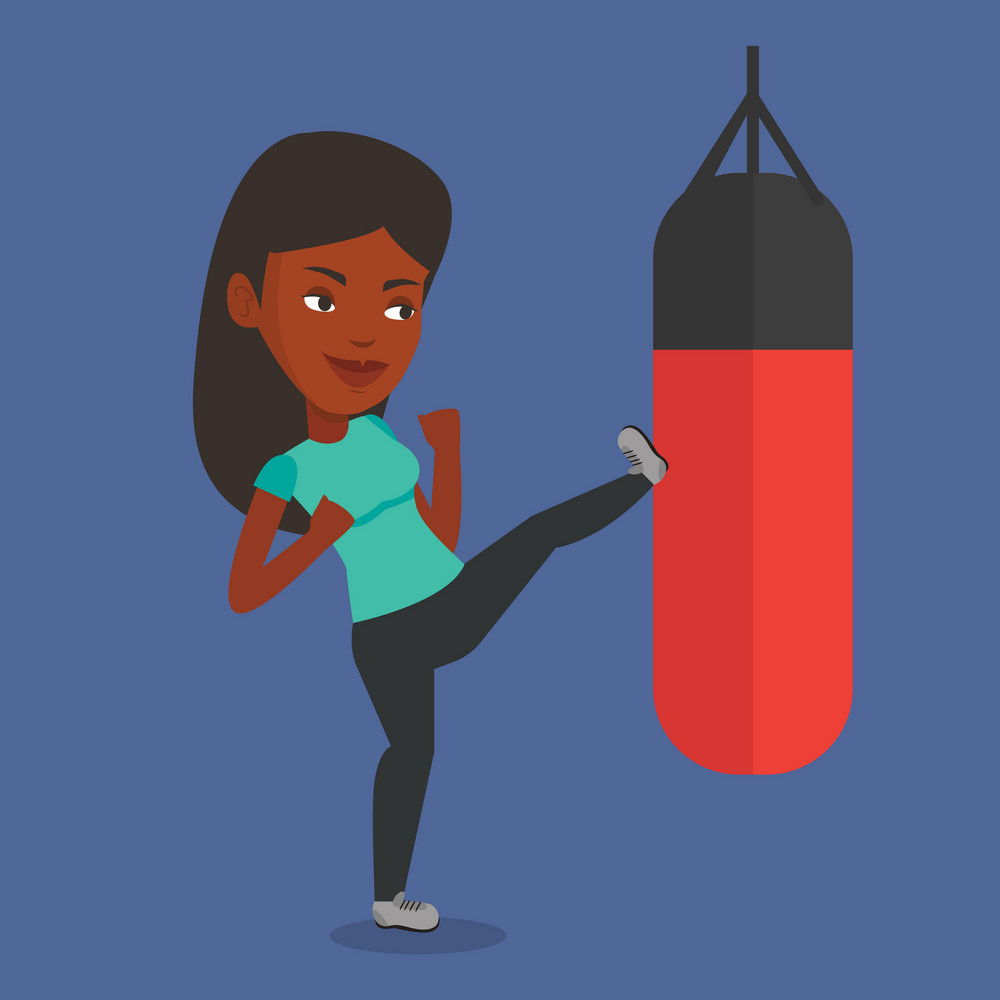 Smiling african-american boxer exercising with boxing bag. Female boxer hitting heavy bag during training. Female boxer training with the punch bag. Vector flat design illustration. Square layout.