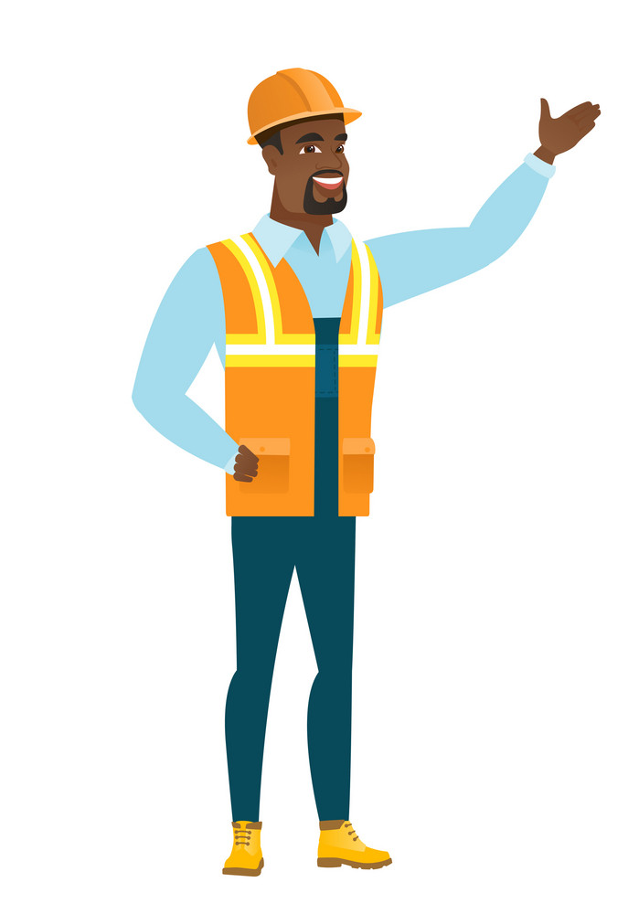 Smiling african-american builder showing a direction. Full length of young builder pointing at something and showing a direction by hand. Vector flat design illustration isolated on white background.