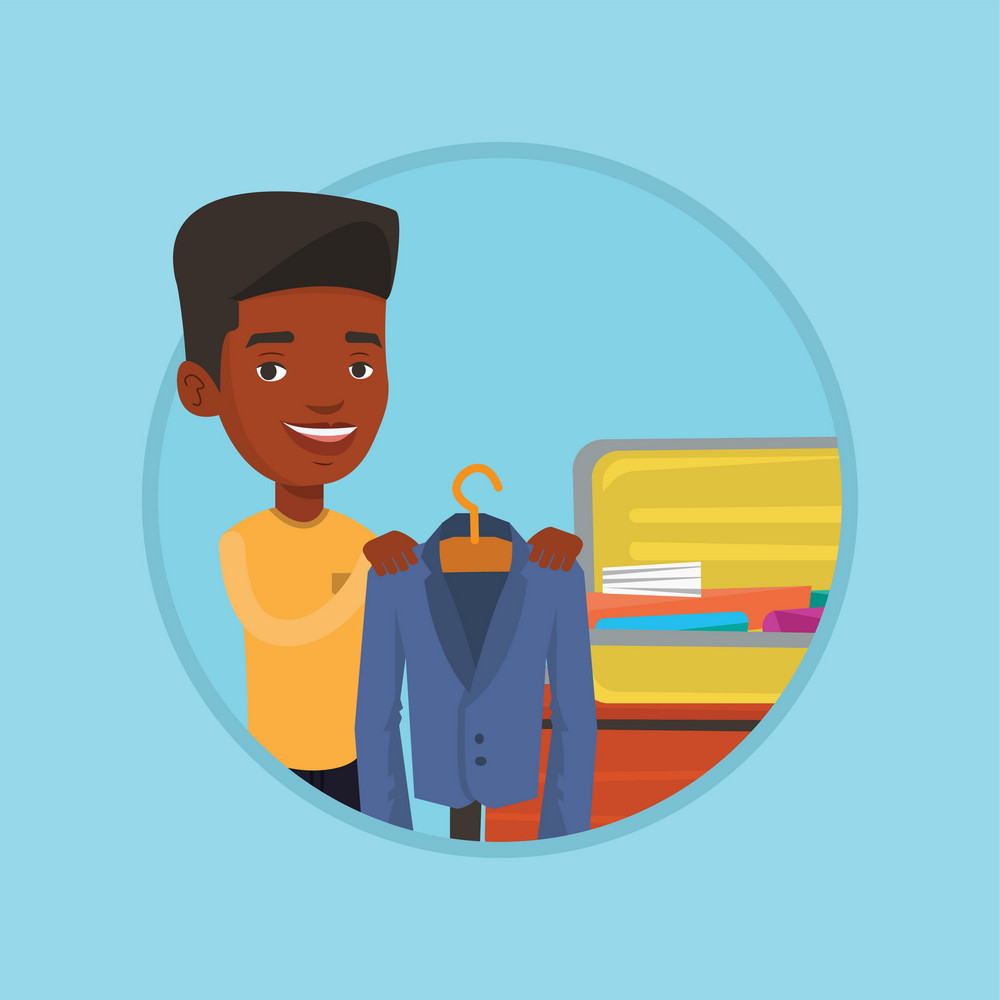 Smiling african-american businessman putting a suit into a suitcase. Young businessman packing his clothes in an opened suitcase. Vector flat design illustration in the circle isolated on background.
