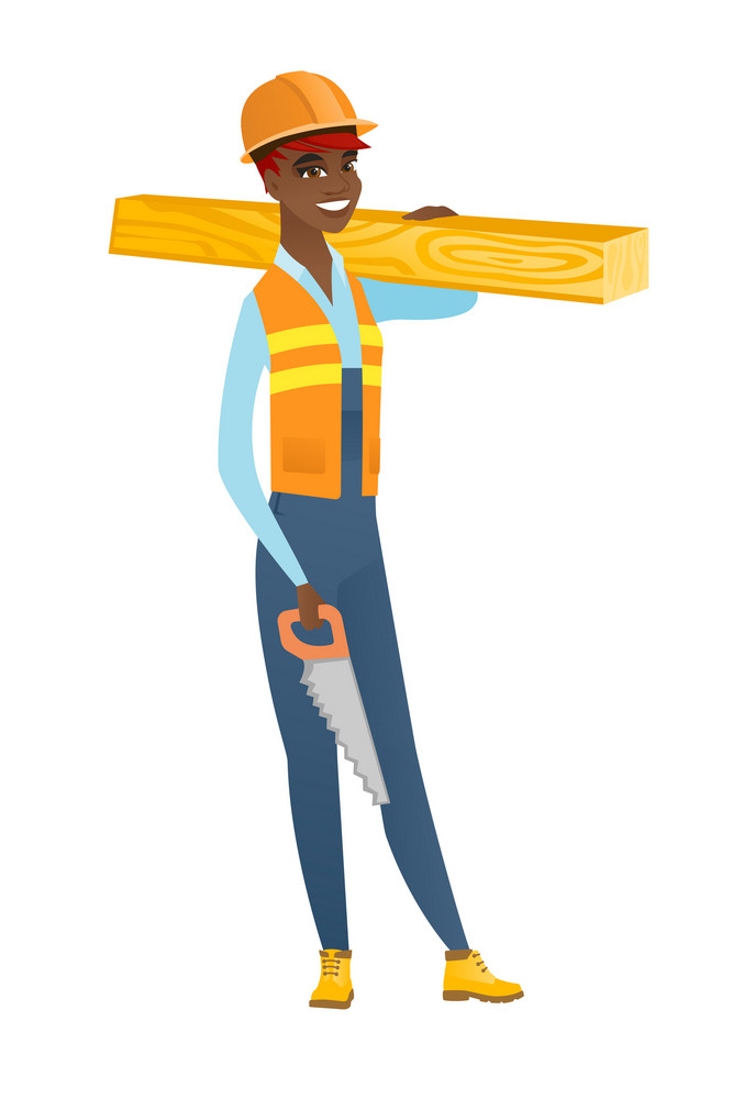 Smiling african-american carpenter holding saw and wooden board. Full length of young cheerful carpenter with hand saw and wooden board. Vector flat design illustration isolated on white background.