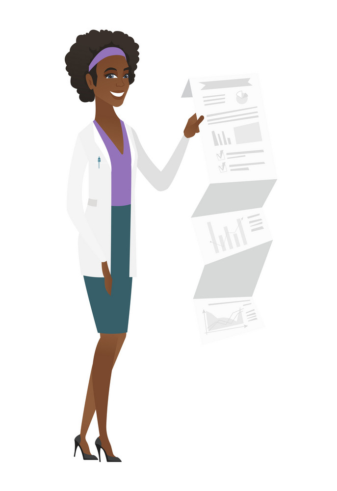 Smiling african-american doctor in medical gown showing document with presentation. Full length of young doctor giving a presentation. Vector flat design illustration isolated on white background.