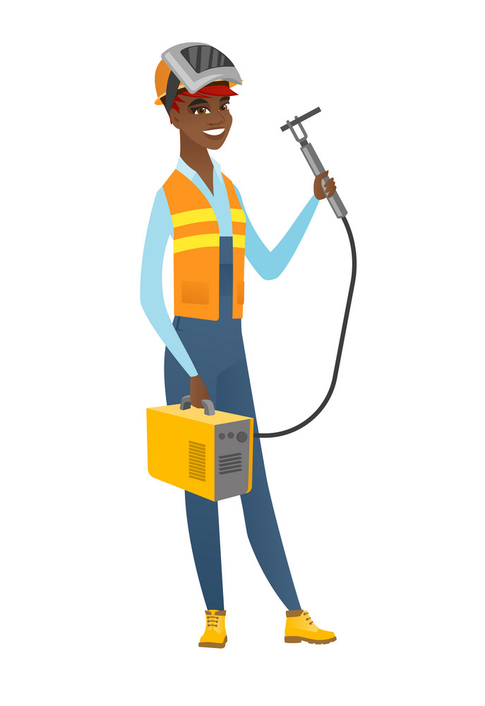 Smiling african-american female welder in hard hat and protective mask. Full length of young cheerful welder holding gas welding machine. Vector flat design illustration isolated on white background.