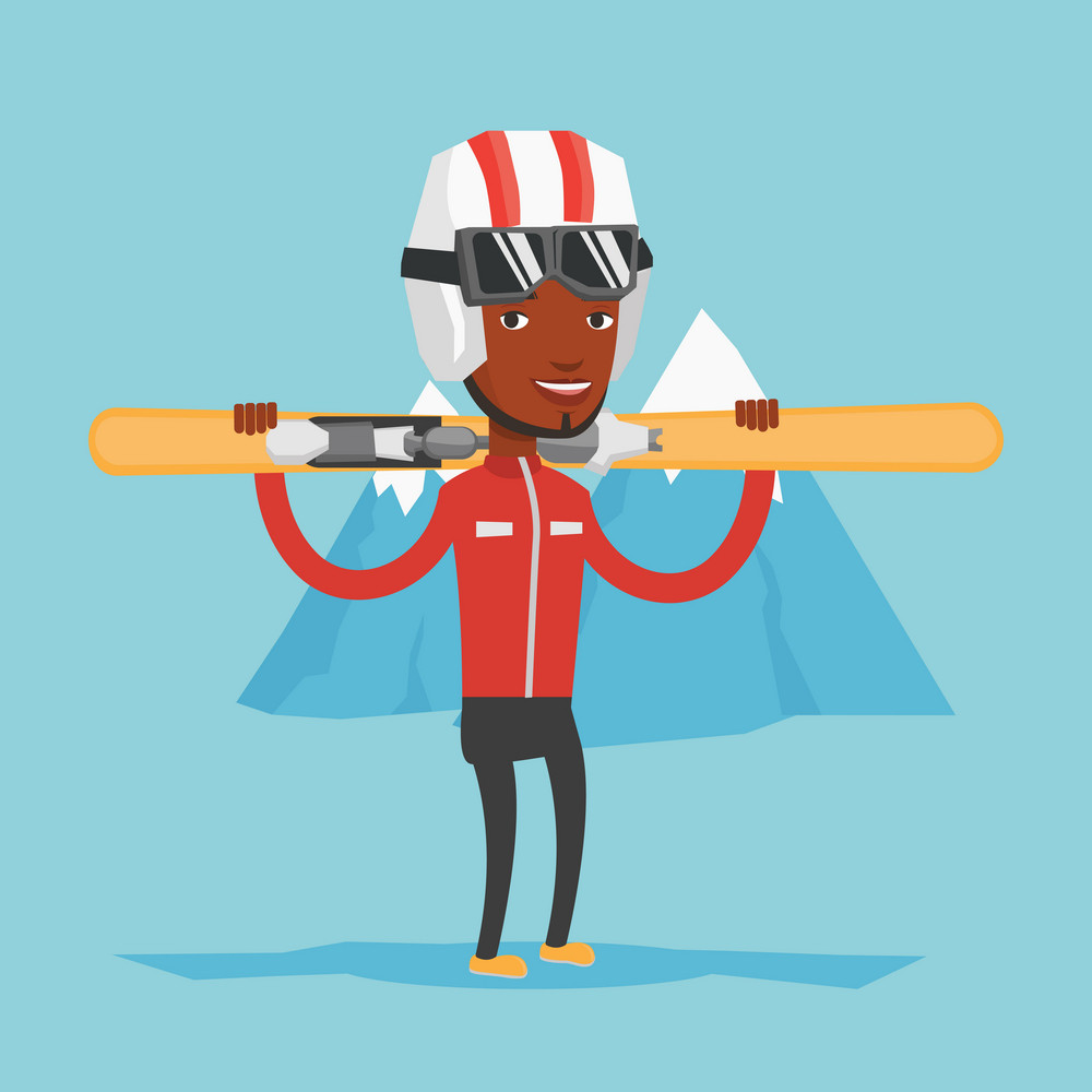 Smiling african-american man carrying skis. Sportsman standing with skis on his shoulders on the background of snow capped mountain. Young woman skiing. Vector flat design illustration. Square layout.