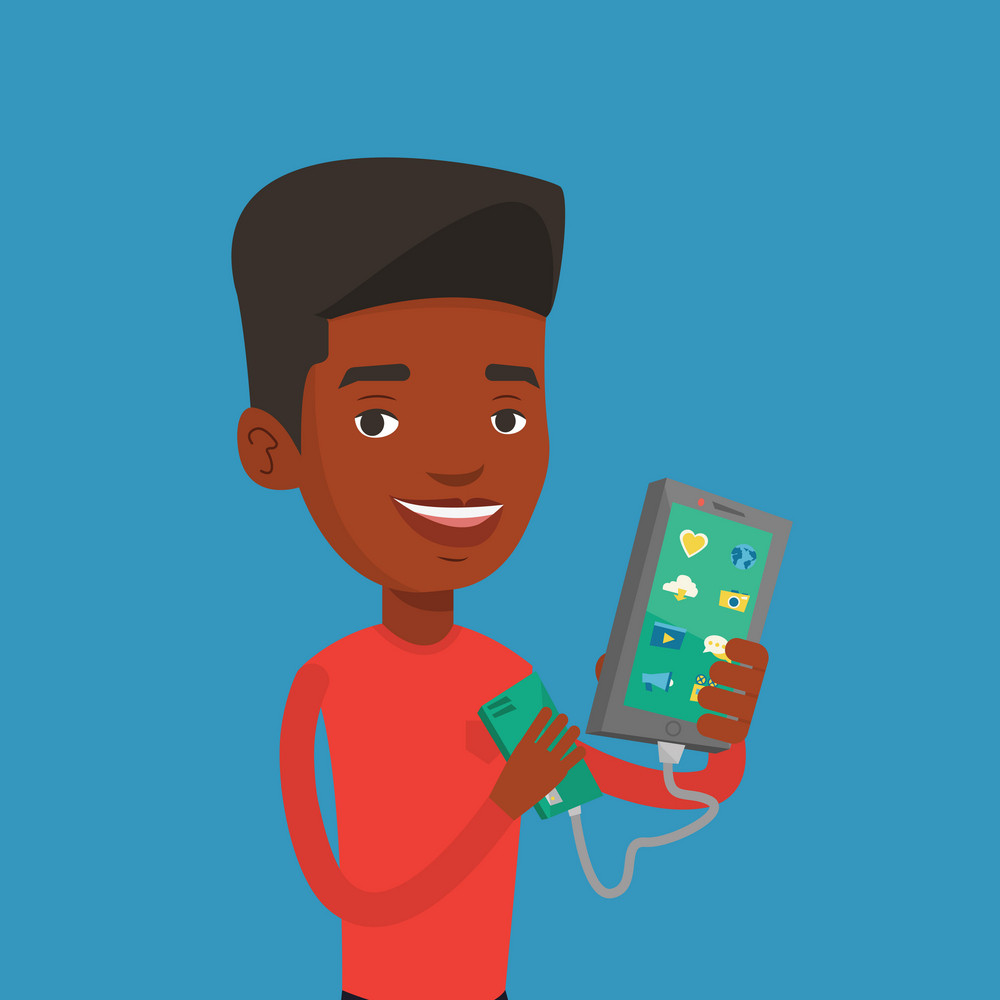 Smiling african-american man recharging his smartphone with mobile phone portable battery. Young man holding a mobile phone and battery power bank. Vector flat design illustration. Square layout.