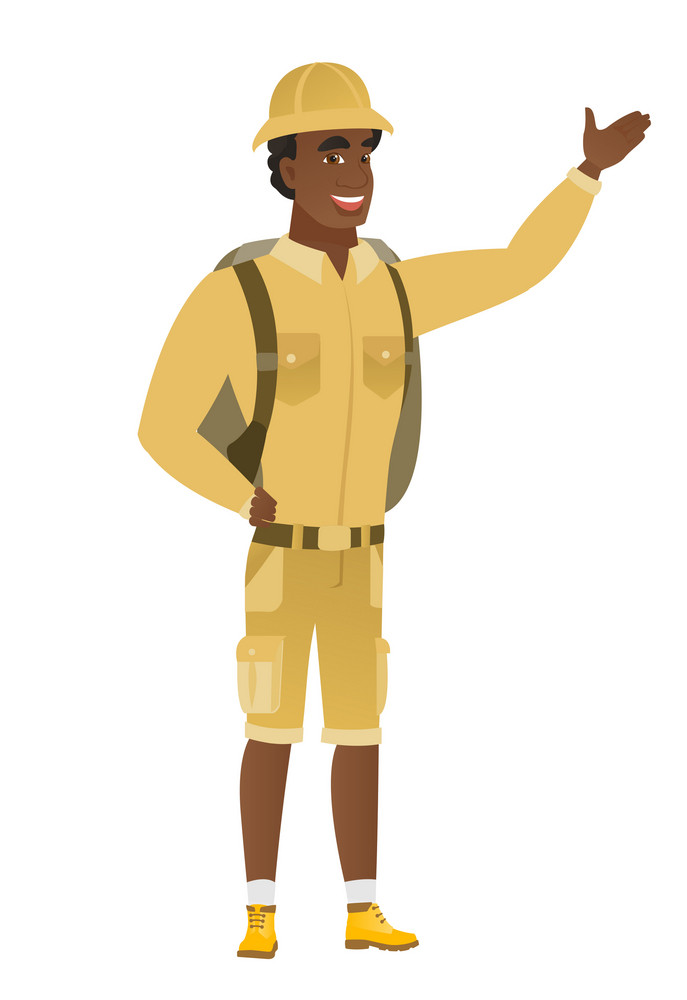 Smiling african-american traveler showing a direction. Full length of traveler pointing at something and showing a direction by his hand. Vector flat design illustration isolated on white background.