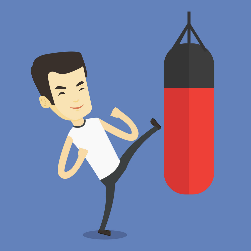 Smiling asian boxer man exercising with boxing bag. Kickbox fighter hitting heavy bag during training. Male boxer training with the punch bag. Vector flat design illustration. Square layout.