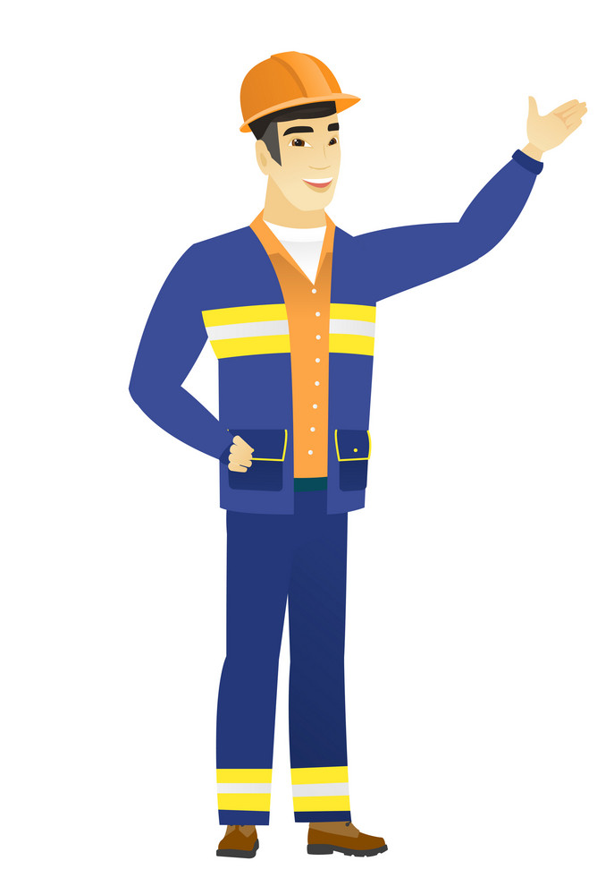 Smiling asian builder showing a direction. Full length of young builder pointing at something and showing a direction by his hand. Vector flat design illustration isolated on white background.