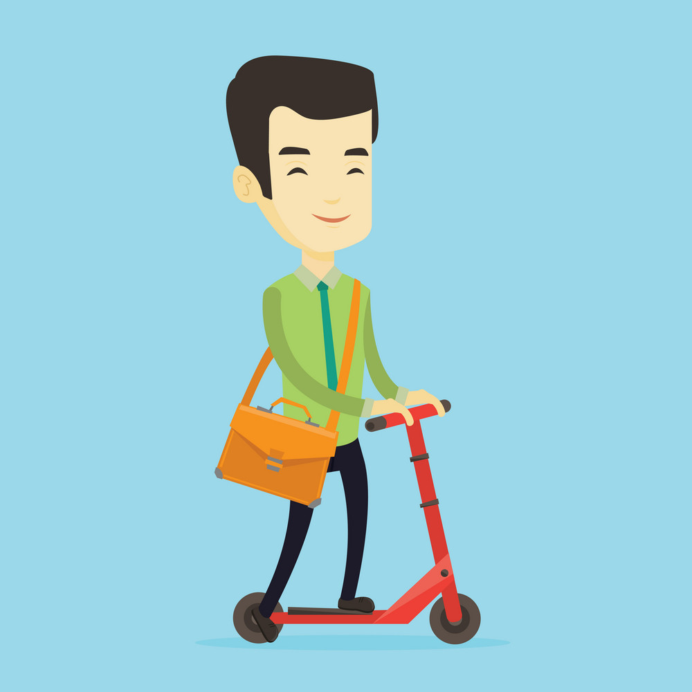 Smiling asian business man in suit riding a kick scooter. Business man with briefcase riding to work on a kick scooter. Business man on a kick scooter. Vector flat design illustration. Square layout.