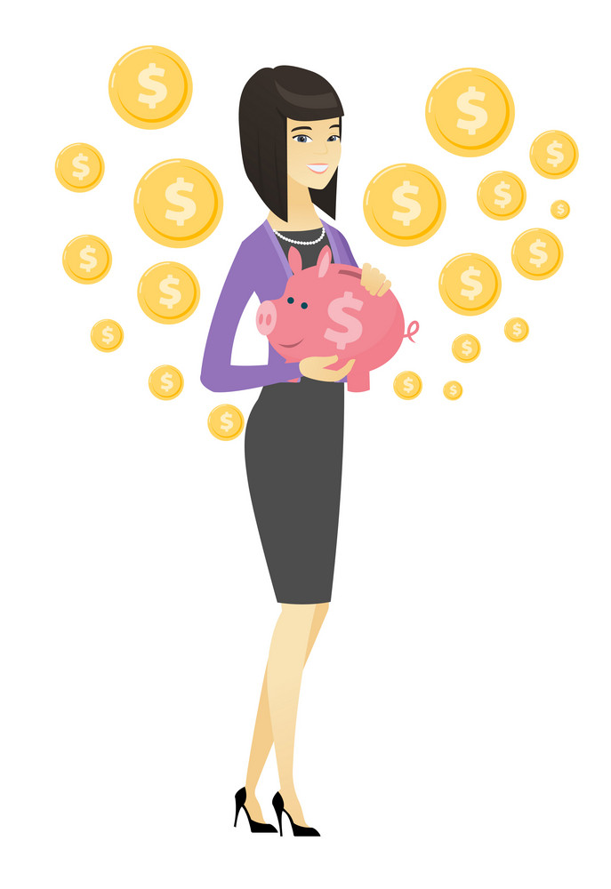 Smiling asian business woman holding a pink piggy bank with dollar sign. Full length of young business woman with piggy bank in hands. Vector flat design illustration isolated on white background.