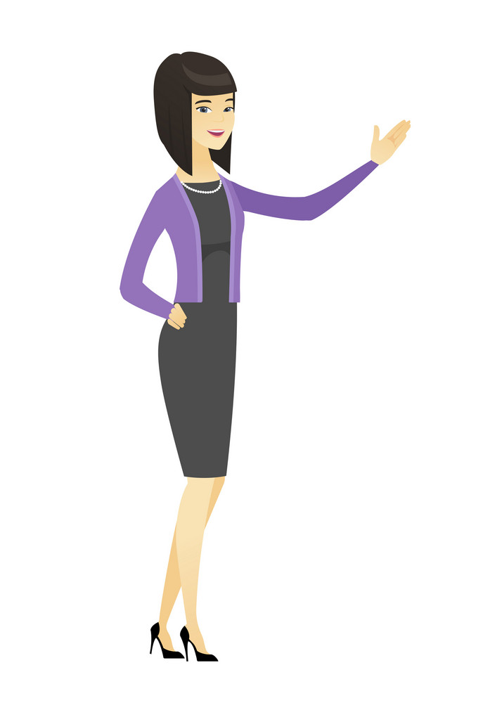 Smiling asian business woman showing a direction. Full length of business woman pointing at something and showing a direction by hand. Vector flat design illustration isolated on white background.