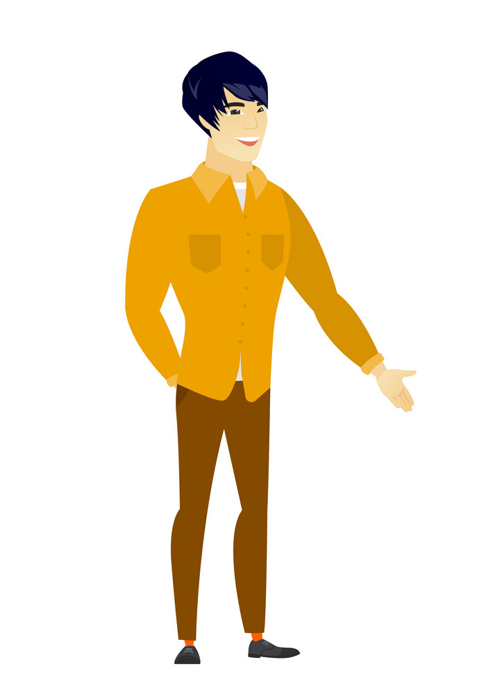 Smiling asian  businessman with his hand in his pocket. Full length of young happy businessman holding his hand in the pocket of pants. Vector flat design illustration isolated on white background.