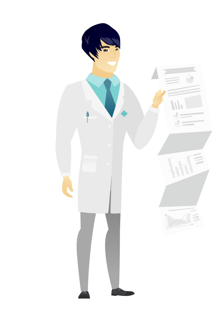 Smiling asian doctor in medical gown showing document with presentation. Full length of young doctor giving presentation. Vector flat design illustration isolated on white background.