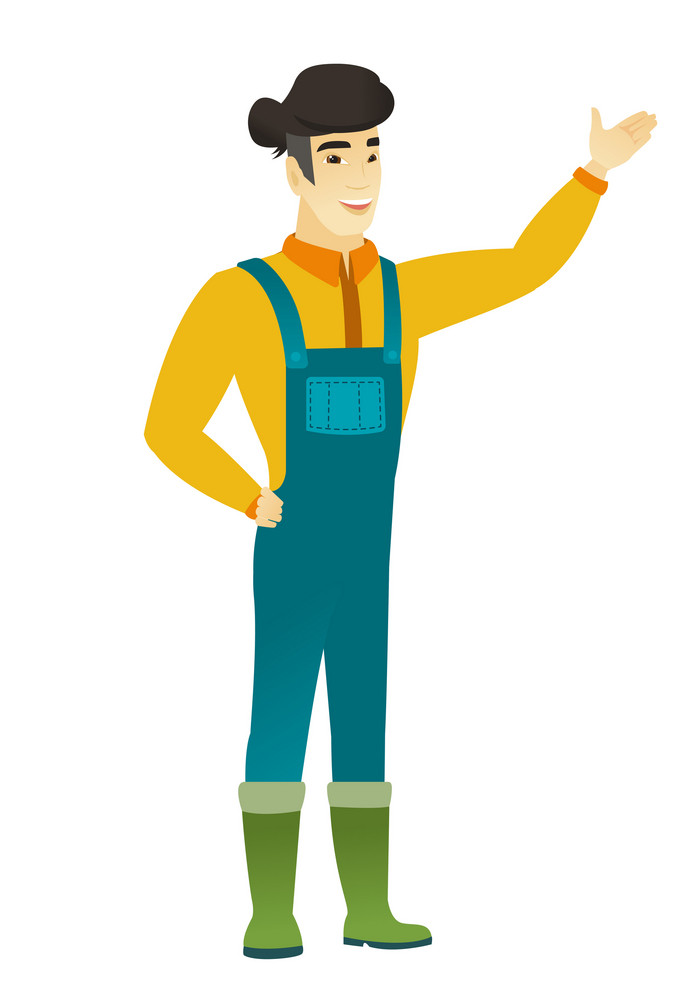 Smiling asian farmer in coveralls showing a direction. Full length of farmer pointing at something and showing a direction by his hand. Vector flat design illustration isolated on white background.