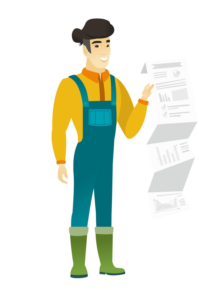 Smiling asian farmer in coveralls showing document with presentation. Full length of young farmer giving a presentation. Vector flat design illustration isolated on white background.